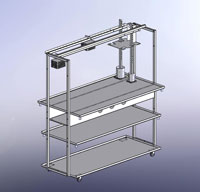 Drawing of 5 Ft. Cheese Table with 2 optional Dutch Lever Press arms and optional height adjustable middle shelf